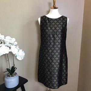 Tahari Black & Gold Jacquard Cocktail Dress